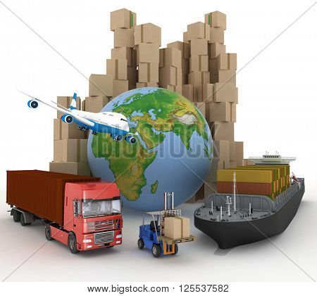 Cardboard boxes around globe, cargo ship, truck and plane.