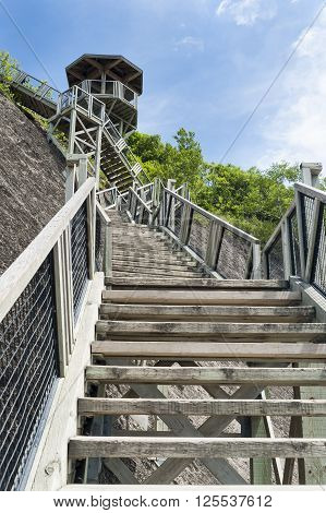 Long long flight of stairs at Montmorency Falls near Quebec City