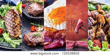 Grill Food. Grill meat - chicken beef and bacon. Grill sirloin steak chicken breast - chicken legs. Grill bacon and egg - english breakfast. Vegetable decoration. Collage of delicious grilled close-up.