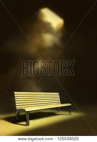 Wooden bench under the lantern at night 3D illustration