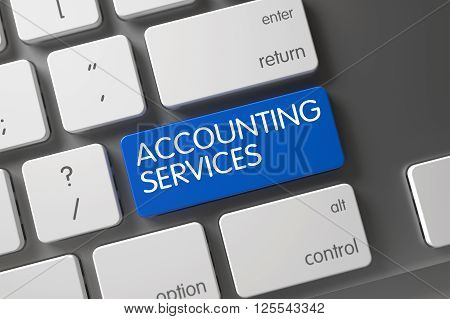 Accounting Services Keypad. Laptop Keyboard with Hot Keypad for Accounting Services. Button Accounting Services on Aluminum Keyboard. 3D Illustration.