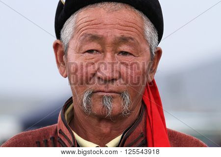 Kharkhorin, Mongolia, July, 8 - Official In Traditional Clothes During Naadam Midsummer Festival, On