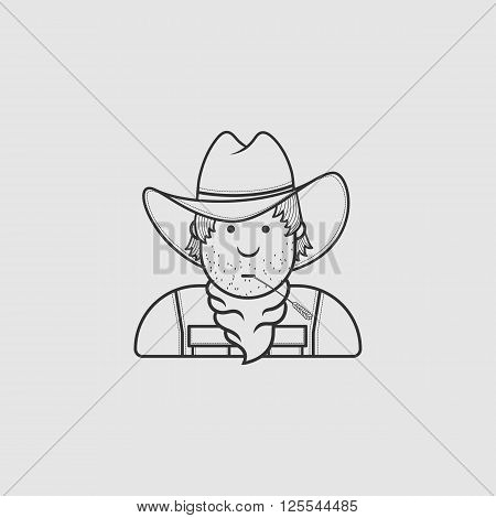 Contour flat character cowboy icon hat and cape