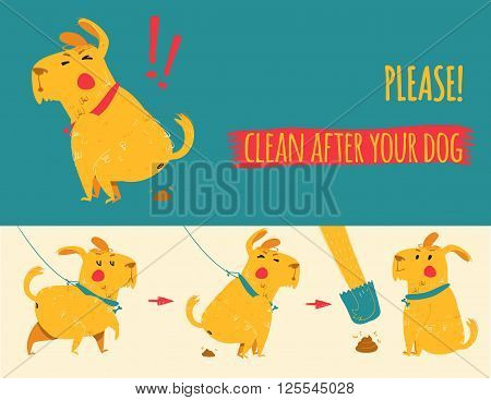Clean after your dog. Vector illustration. Cartoon
