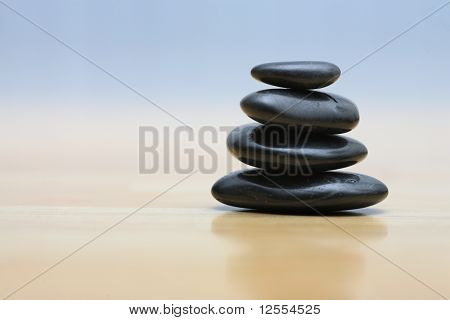 Zen Stones On Wooden Surface
