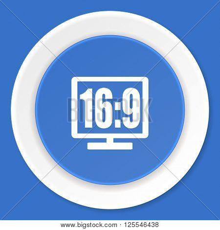 16 9 display blue flat design modern web icon