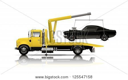YELLOW tow truck towing black muscle car