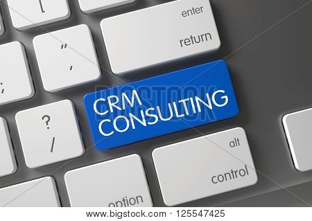 White Keyboard Keypad Labeled CRM Consulting. Metallic Keyboard with Hot Key for CRM Consulting. Metallic Keyboard with the words CRM Consulting on Blue Keypad. 3D Render.