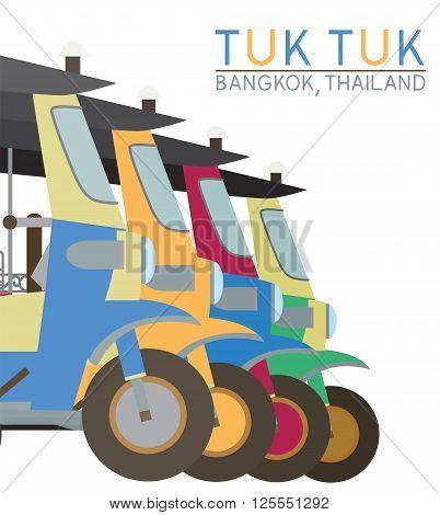 Tuk Tuk in Bangkok of Thailand Vector