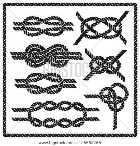 Sailor knot set. Nautical rope infinity sign. Corner element. Rope frame border. Tying the knot. Graphic design element for wedding invitations, baby shower, birthday card, scrapbooking, logo etc.