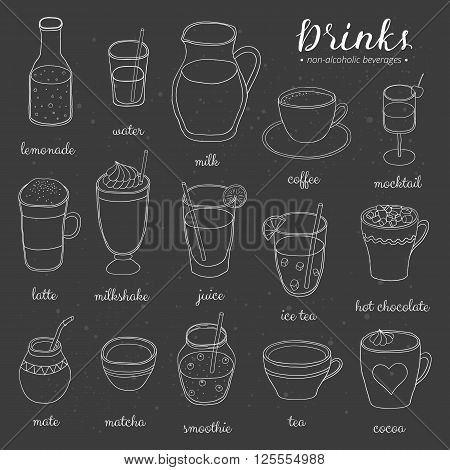 Hand drawn outline non-alcoholic drinks on the blackboard. Lemonade, water, milk, coffee, mocktail, latte, milkshake, juice, ice tea, chocolate, mate, matcha, smoothie, tea, cocoa. Doodle beverages. poster