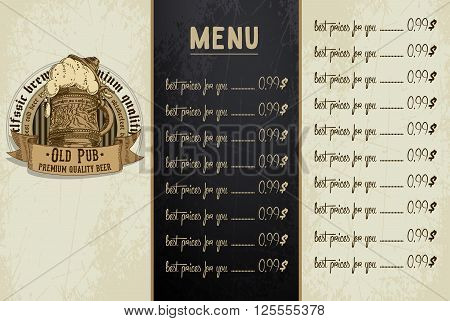 Sample menu design in the brasserie, freehand drawing