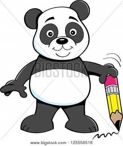 Cartoon illustration of a panda bear holding a pencil.