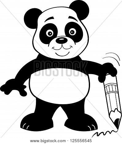 Black and white illustration of a panda bear holding a pencil.