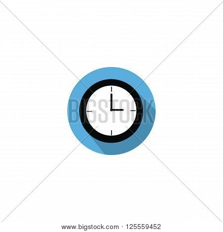 Clock at 3 a.m morning or 3 p.m. afternoon flat icon on blue circle with long shadow isolated on white background