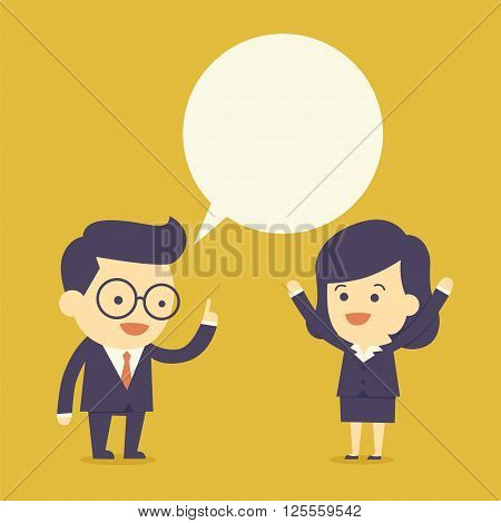 Business people talk with the bubble speech