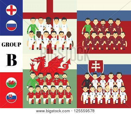 Players with flags GROUP B in france 2016