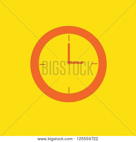 Clock icon on afternoon tone orange color on isolated on yellow background