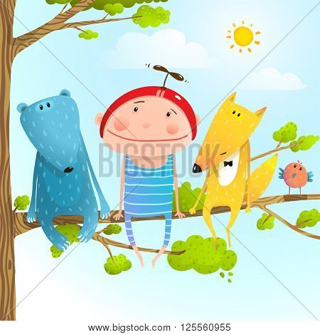Baby kid and fox, bear funny friendship colorful cartoon, vector illustration