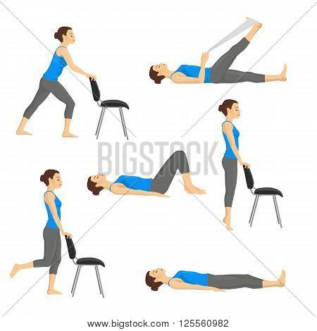 Body workout exercise fitness training set. Knee exercises isolated on white background