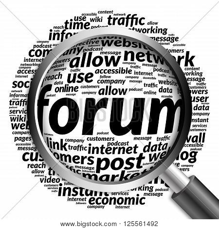 Forum Word Cloud With Magnifying Glass