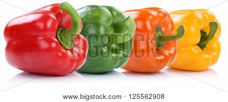 Collection Of Bell Pepper Peppers Paprika Paprikas In A Row Vegetable Isolated On White