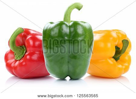 Red Yellow Green Organic Bell Pepper Peppers Paprika Paprikas Vegetable Isolated On White