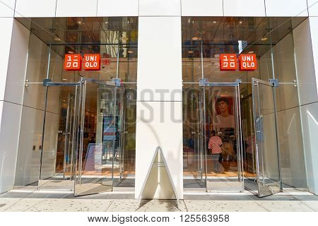 NEW-YORK - MARCH 20, 2016: entryway of Uniqlo store. Uniqlo Co., Ltd. is a Japanese casual wear designer, manufacturer and retailer.