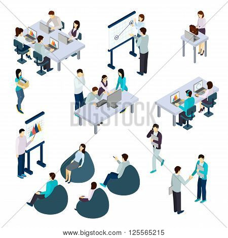 Coworking people isometric set with work and rest symbols isolated vector illustration