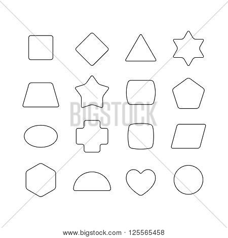 Linear Thin Geometric Rounded Shapes. Heart, Star, Hex, Triangle, Rhombus, Rectangle, Circle, Trapez