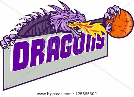 Illustration of a purple dragon head breathing fire clutching basketball ball and banner with the word