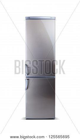 Stainless steel big refrigerator isolated on white. Fridge freezer.