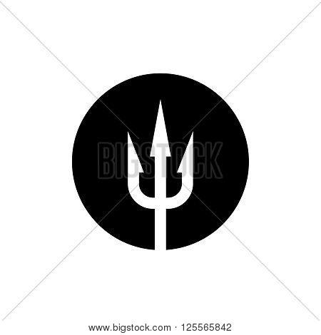 Trident Icon. White On A Black Round Background.