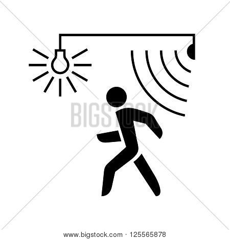 Walking Man Silhouette With Lamp And Sensor Waves. Black Color.