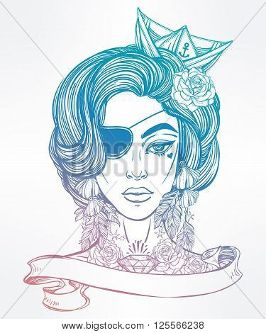 Hand drawn beautiful artwork of female pirate sailor portriat with eye patch in flash tattoo art style. Coloring books, tattoo, sea. Isolated vector illustration with ribbon banner and space for text.