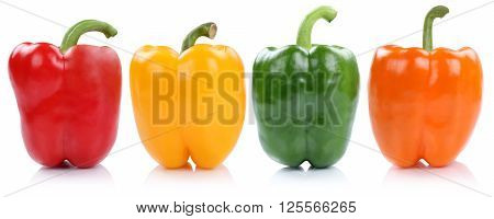 Collection Of Bell Pepper Peppers Paprika Paprikas In A Row Side View Vegetable Isolated On White