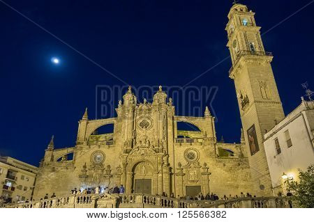 Jerez de la Frontera Cathedral at night