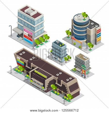 Modern city shopping center complex isometric composition with supermarket and department store buildings abstract vector illustration