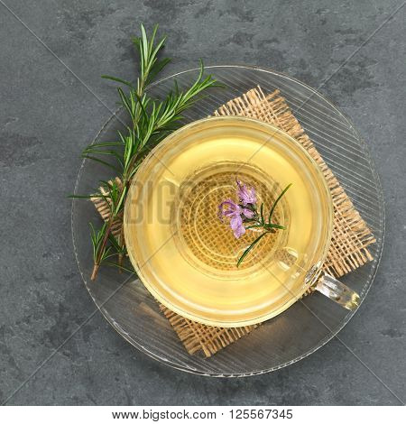 Freshly prepared rosemary herbal tea in glass cup garnished with rosemary flower photographed overhead on slate with natural light (Selective Focus Focus on the top of the tea and the flower)