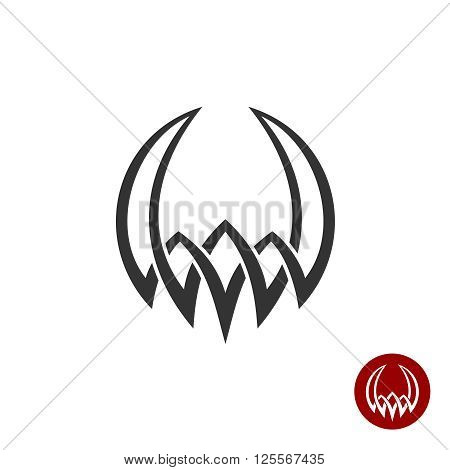 Mythology Weaving Abstract Tattoo Symbol. Round Shape With Horns Demonic Antique Logo. Myth Demon Ic