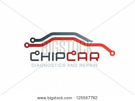 Diagnostics And Repair Car Service. Vector Logo With Abstract Car Line Silhouette.