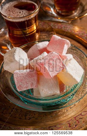 Turkish delight or rahat lokum rose and lemon flavour a Middle Eastern confectionery
