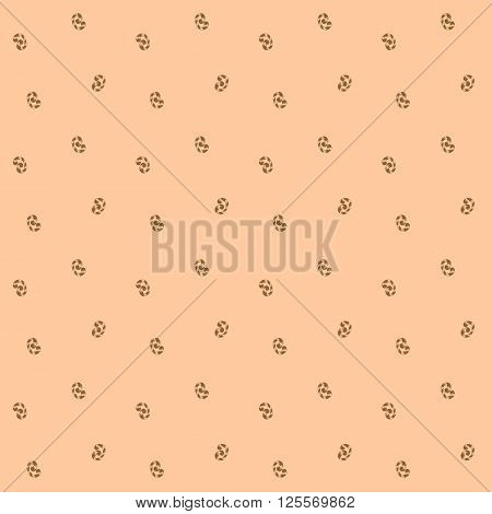 Seamless pattern of brown whorls curlicues on pink backgrownd