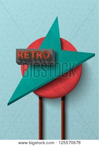 retro arrow roadside motel sign design element