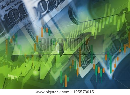 Currency Money Trading Concept. American Dollars Trading. Forex Theme.