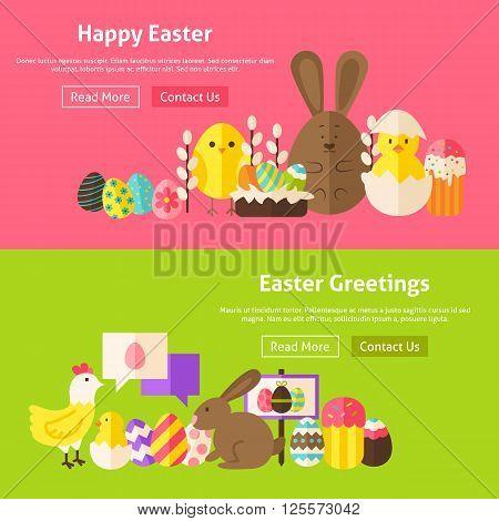 Easter Greetings Flat Website Banners Set