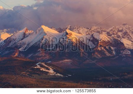 Scenic Tatra Mountain Landscape at Sunset. Early Spring in the Lesser Poland Europe.