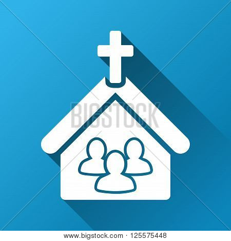 Church People vector toolbar icon for software design. Style is a white symbol on a square blue background with gradient long shadow.