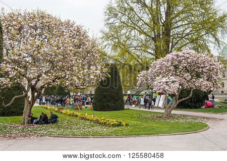 STRASBOURG FRANCE - APR 9 2016: as people join the 'Nuit Debout' or 'Standing night' movement at the Place de la Republique in Strasbourg