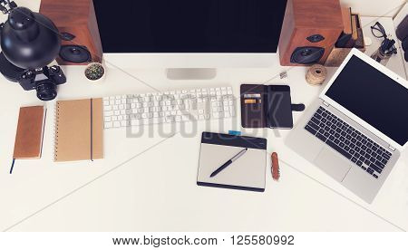 Top view office desk mockup for responsive web design